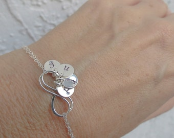 Personalized Infinity Bracelet Up to FOUR initials of your choice, Sterling Silver Infinity Bracelet, Family Initials,Infinity Jewelry