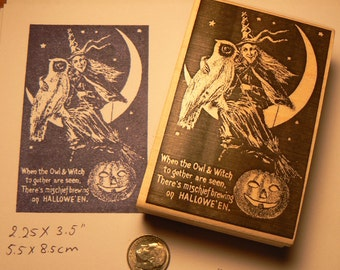 Halloween witch with owl on moon postcard rubber stamp WM P5