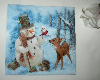 2  images Napkins from Holland snowman