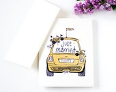 Wedding Card: Just Married Mini Cooper Car with Flowers Gold