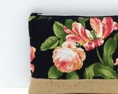 Floral Clutch Purse, Free Personalization, Gift Idea, iPad - Pink and Cream Flowers on Black, Burlap Panel