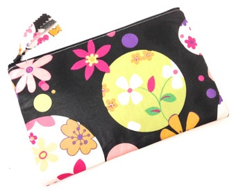 Zippered Pouch, Makeup pouch, Pencil case,  Flowers in Pink Orange Yellow on Black