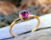 Pink Tourmaline Gold Ring,  Solid 14k Gold Stacking Ring with Pink Rubellite, October Birthstone Stacking Ring, Skinny Ring