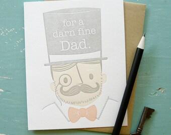 Darn Fine Dad Father's Day Letterpress Note Card