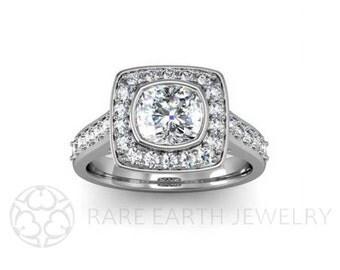 Cushion Diamond Engagement Ring Cushion Diamond Halo Bezel Set Conflict Free 14K White Yellow or Rose Gold