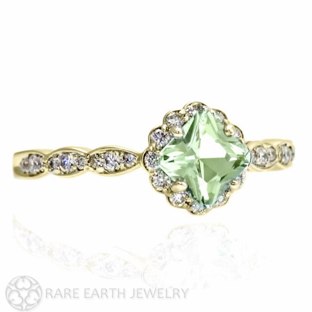 14k Asscher Green Amethyst Ring Diamond Halo Engagement Ring