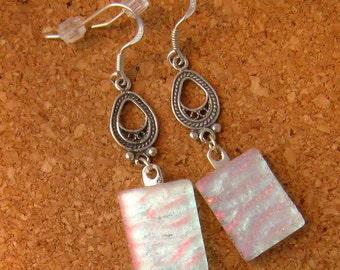 White Dichroic Earrings Fused Glass Earrings Fused Glass Jewelry Dichroic Jewelry