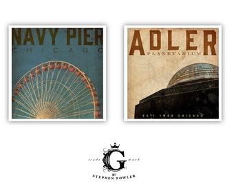 Chicago landmarks Adler Planetarium or Navy Pier Ferris Wheel giclee signed artists print by Stephen Fowler