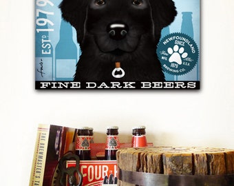 Newfoundland Newfie dog brewing beer company illustration graphic art on gallery wrapped canvas by Stephen Fowler