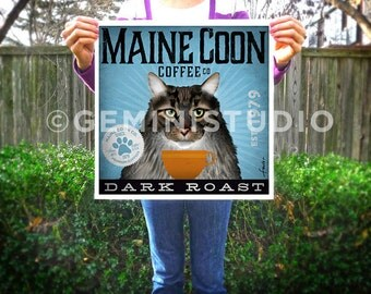 Maine Coon Cat coffee company artwork graphic illustration signed archival artists print giclee By Stephen Fowler PIck A Size