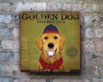 Golden Retriever baseball club chicago graphic artwork on gallerly wrapped canvas  by stephen fowler