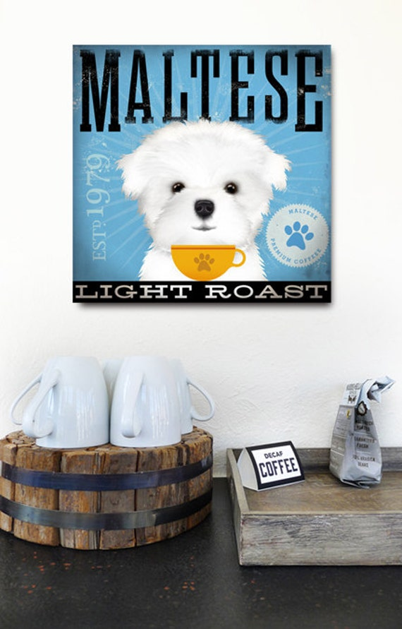 Maltese Coffee Company original graphic illustration on gallery wrapped canvas by Stephen Fowler