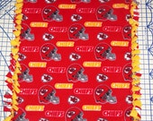 Kansas City Chiefs Fleece Baby Blanket Hand Tied Pet Lap NFL Football Red Gold Hand Tied