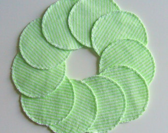 Cotton Rounds Make-up Remover Pads Mint Green Stripe Washable Reusable cosmetic, Ready to ship