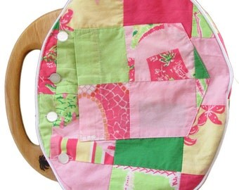 BERMUDA BAG LADIES All Handmade with Reversible  Vintage Lilly Fabric Cover that has an Outside Patch Pocket! 1990's Lilly Print