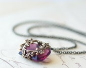 Amethyst purple jewel necklace Victorian brass wrapped floral romantic antique style