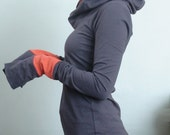 extra long sleeved hooded top Cement Grey with Rust Orange