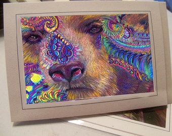 greeting card of my drawing  grizzley bear zentangle
