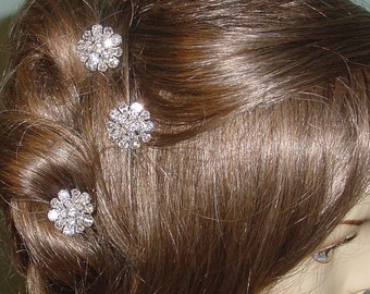 Wedding Hairpins Pear Rhinestones Set of  3 Bridal Accessories Made to Order Ships in 1-2 weeks.