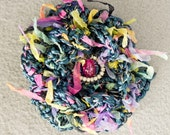 Crochet Flower Pin Brooch - Teal