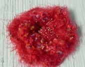 Red Crochet Flower Pin