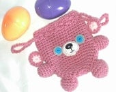 Teddy Bear Drawstring Bag in Dust Rose Pink