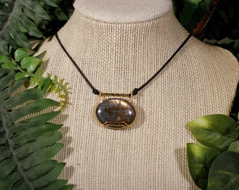 Gold and Pink Labradorite Acacia Necklace in Gold-Filled