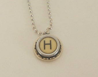 Typewriter Key Necklace, Vintage, Initial Jewelry,  All Letters Available, Typography Jewelry,