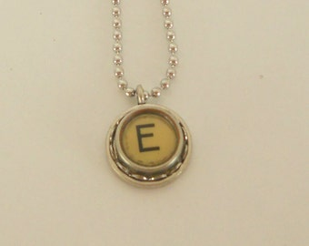 Typewriter Key Necklace -  Letter E - Vintage - Initial Jewelry -  ALL Letters Available - Typography Jewelry