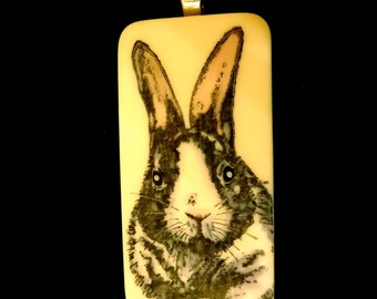 Black and White Rabbit Pendant