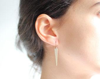 Minimalist Brass Spear Earrings - Brass, Gold Fill or Sterling Silver
