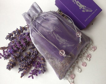 Beaded Metallic Lavender Sachet Holiday Gift Wrap for Lavender Jewelry