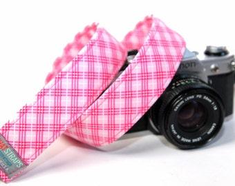 Pink Plaid Camera Strap for DSLR / SLR - Farm Girl Plaid