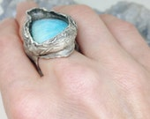 reserved shapeshifter mermaid ring with exquisite dreamy blue pearshaped rare Nevada US amazonite set in recycled fine silver size 7