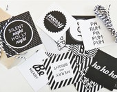 Gift Wrap Pack Monochrome Modern Christmas Square Cards 12 pack & twine