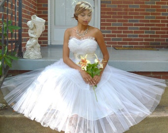1950s White Strapless Wedding Prom Dress XS Sz 0 ~ Vintage Tulle Cupcake