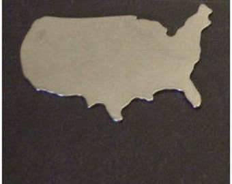 Country/Continent - USA - QUANTITY  1 - choose your metal - perfect for keychains