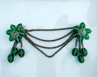 Emerald Green Vintage 30s Brooch Festoon Swag Brass Chains Statement