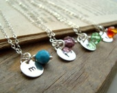 Personalized Initial Silver Charm Necklace With Birthstone Crystal - SET OF 4 - Monogram Pendant, Custom Initial Pendant  - Bridesmaids