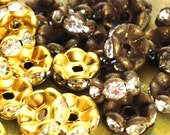 8mm - 12 pcs -  Brass Patina Rhinestone Rondelle Spacer Beads - Wavy Edged - Choice of Antiqued Brass or Raw - Patina Queen
