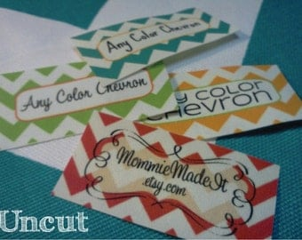 80 Fabric Labels - Sew-On Fabric Labels - Uncut - Free Customization Using Any Premade Design Shown OR Your Print-Ready Design or Logo