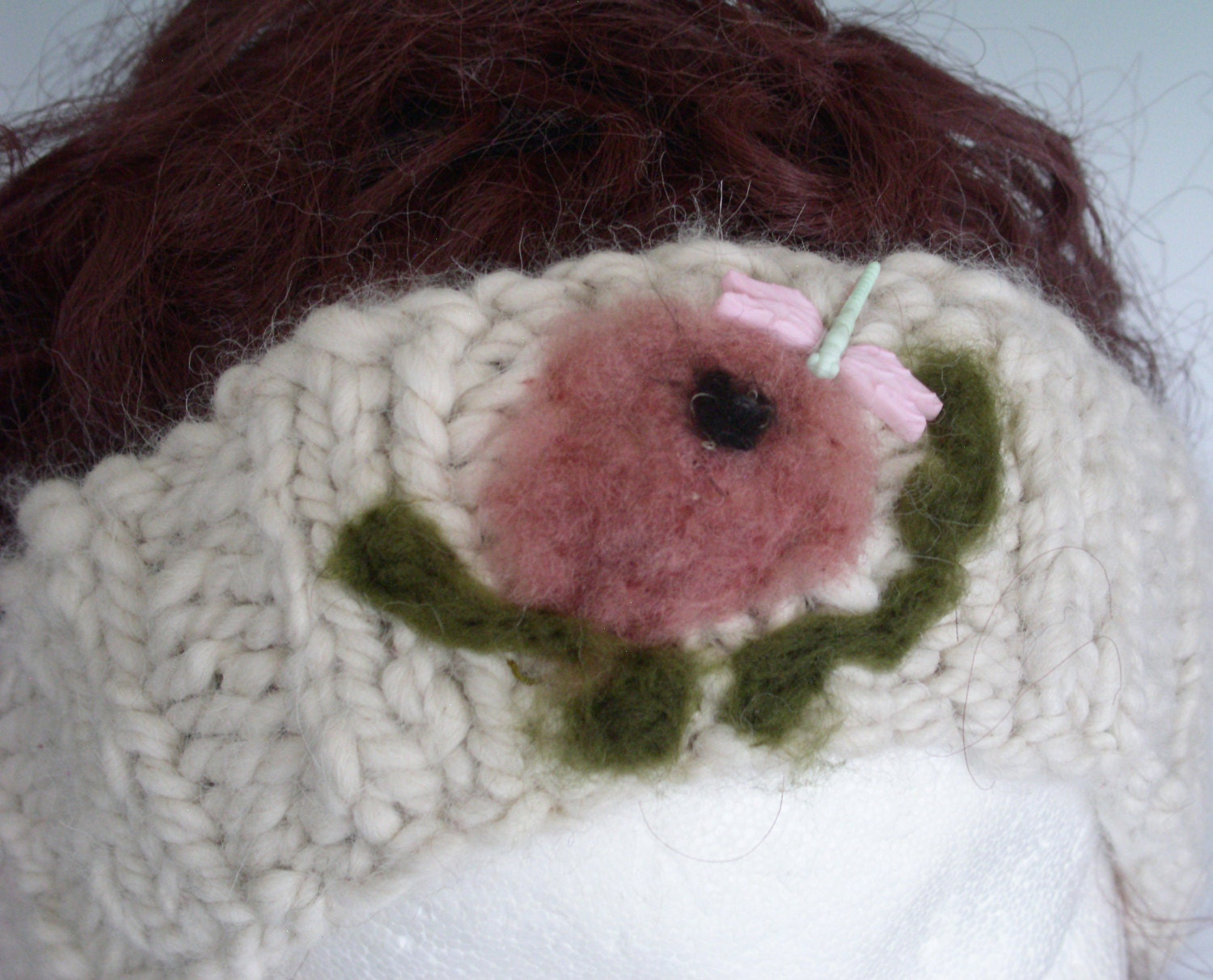 Alpaca Headband Knitting Pattern : ALPACA HEADBAND ROSE Hair accessory Ear warmer