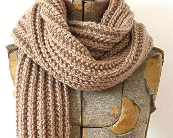 Brown Merino Wool Rib Knit Scarf Autumn Fall Holiday Gift Warm