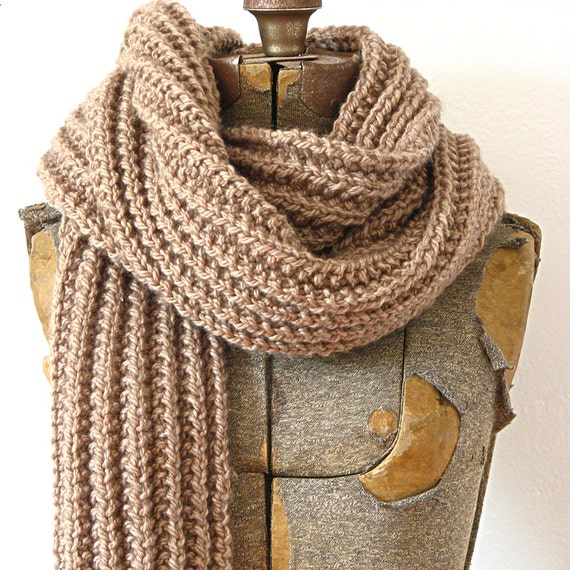 Brown Merino Wool Rib Knit Scarf by jillbent on Etsy