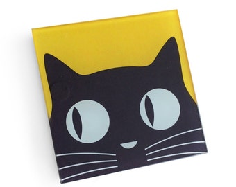 Set of 4 Black Cat Coasters