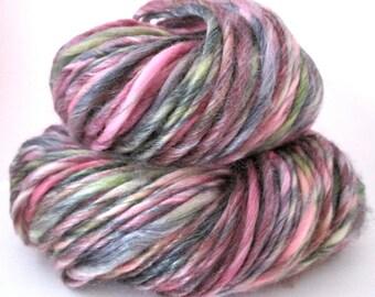 Handspun Yarn – Hand Dyed Superwash Merino/Tencel Fiber – Worsted Weight Singles Yarn – Maroon, Olive Green, Black – 130 Yards