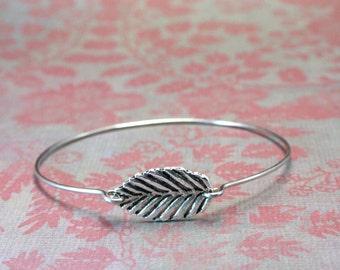 Small Leaf Bangle Bracelet, Leaf Bracelet, Forest Bracelet, Intuition, Birch Tree Bangle