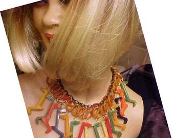 Bakelite multi color fiesta necklace Jan Carlin Original Made from Old Bakelite