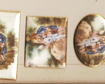 6 Pc  Lot number two Enamel Lot Compact Tops etc. Weisner of Miami Trinkette Factory