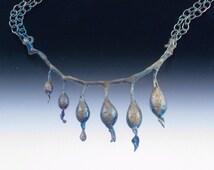 Sterling Silver Oxidized Kelp Pod Necklace